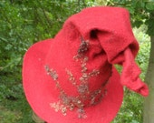 Felted Witches Hat - Red and Brown