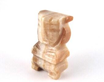 vintage carved Mexican alabaster figurine - alabaster statue - primitive aztec figure - stone statue - stone figure