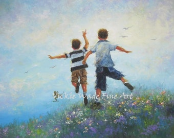 Two Brothers Leaping ORIGINAL Painting 24X30, two boys paintings, two brothers images, boys room wall decor art, Vickie Wade Art