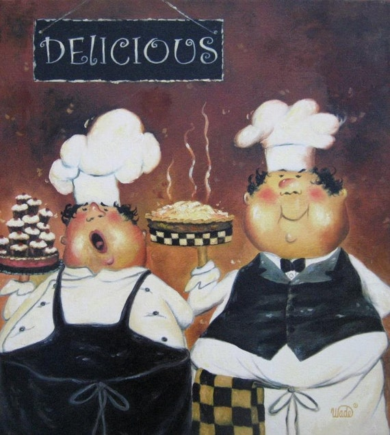 Fat Chef Kitchen: Items Similar To Two Fat Chefs Art Print Fat Chef