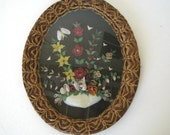 Vintage 1930s Shell Art Picture Coushatta Pine Needle Basketry Frame Flowers w Butterflys