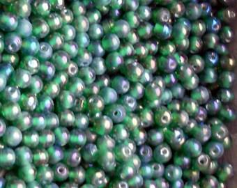 Vintage Glass Beads,Aurora borealis beads, AB Blue Green beads,glass beads, 7mm Small Czech Republic Iridescent NOS Rare #64