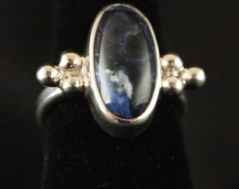 Sterling Silver and  Sodalite Ring Size 6