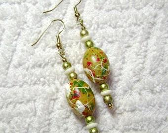 Yellow Stippled Earrings - Dangle Earrings - Earrings - E69