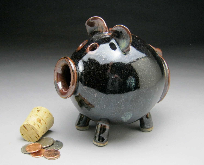 Large Black Brown Ceramic Piggy Bank Made To Order