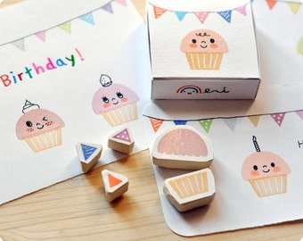 Cupcake hand carved rubber stamps set of 5
