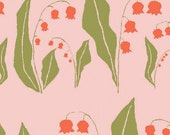 Organic Cotton Fabric-monaluna -Meadow- LILY - low shipping