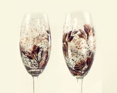 Hand-Painted CRYSTAL Champagne Flutes - Copper and Black Roses, Set of 4 - Flutes a Mariage Rustic Wedding Toasting Anniversary Gift