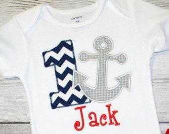 Boys or Girls Chevron Anchor Nautical Birthday Applique Shirt-- Navy Chevron Birthday- Photo Prop, Cake Smash, First Birthday Shirt