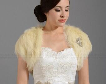 Champagne faux fur bolero faux fur shrug FS004-Champagne