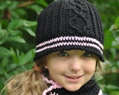 Beautifully crocheted cabled hat, neckwarmer and fingerless mittens....