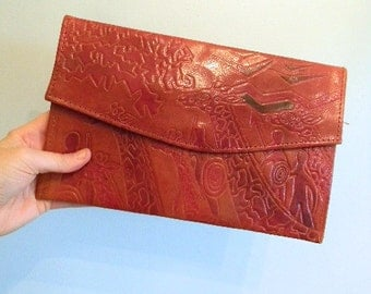 70s Red Leather Clutch  • Bohemian Bag • Boho Clutch  • Red Leather Pouch