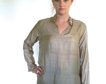 vintage. Indian Taupe Silk Embroidered Tunic Blouse /  M to L