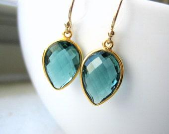 Green Quartz Pear Teardrop Earrings - Bezel Set Gold Vermeil Drop - Dangle Earrings