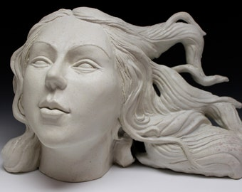 Bust Of Venus, Ceramic Figure Sculpture Portrait Head with Flowing Hair, Goddess of Love and Beauty, Soda Fired Porcelain Art