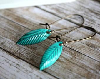 Turquoise Leaf Earrings Light weight Earrings, Simple Earrings