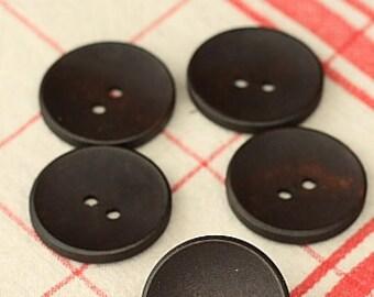 Set 17 Craft Ideas 30mm Coffee Dark Wood round buttons