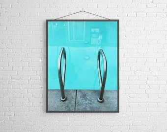 Modern Swimming Pool Art Mid Century Hotel Vacation  Metallic Fine Art Photography