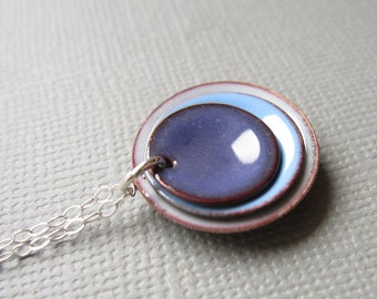 Purple Periwinkle Blue Mist Modern Minimalist Enamel Necklace