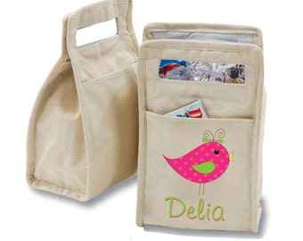 Personalized Chatter Bird Insulated Cotton Lunch Bag - Personalized with Any Name and You Choose the Font!