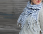 Felted scarf baby blue silk shawl with fringe Aqua blue merino neck warmer - spring sale- gift under 80 USD