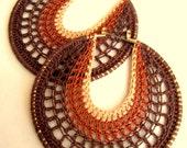 Crocheted Hoops in brown tones, Ombre effect, bohemian jewelry, Hippie