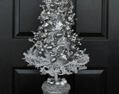 Silver Elegance Holiday Wreath and Table Decoration, Silver Wreath, Christmas Table Decoration