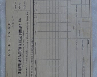 1920s Era De Queen and Eastern Railroad Company Collection Bill - Blank Form