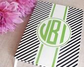 Personalized Hardback Journal | Diagonal Stripe Pattern | Custom Notebook | Gifts for Her