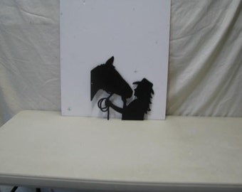 Woman with Horse Western Metal Art Silhouette