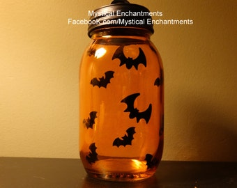 Halloween Bat Mason Jar Candle Holder with black lid