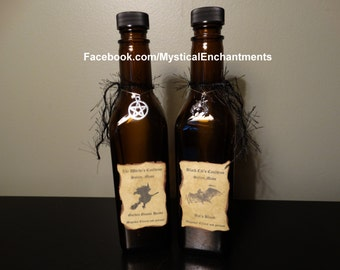 Primitive Style Halloween Witch SPELL Potion Bottle- Set of 2