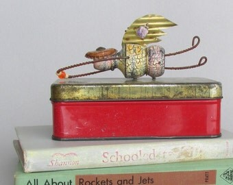 home decor - tin box assemblage - Minerva- rustic keepsake angel