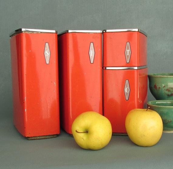 Vintage kitchen decor orange canister set 4 canister set for Kitchen set orange