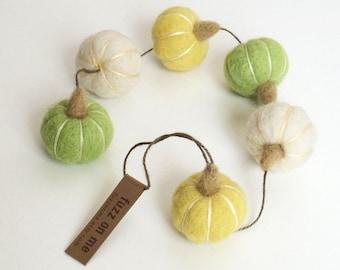 Needle felted miniature pumpkin garland - white, lemon yellow, apple green spring colors