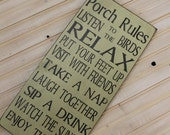 Porch Rules sign Custom Rules 10x20 Rustic Primitive Vintage Style Porch Rules Typography Word Art Sign