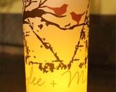 Monogram birds in a branch birch   Luminary Centerpiece - 8.5 inch - great for table Number Wedding Reception-12  pkg