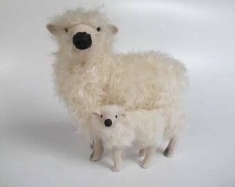 Handmade Dartmoor Sheep Figurine With Turned Lamb