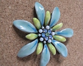 Beautiful sea foam blue green & yellow flower brooch flower pin with sparkly accents