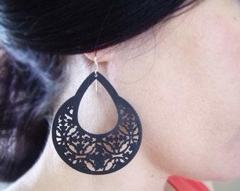 Wood Earrings, Filigree Earrings, Victorian Gothic Jewelry, Carved Wood Earrings, Laser Cut Wood Earrings, Wood Hoops, Black Wood, Medieval