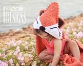 CROCHET PATTERN Foxy Beach Towel or Hooded Blanket Crochet PDF Pattern Instant Download