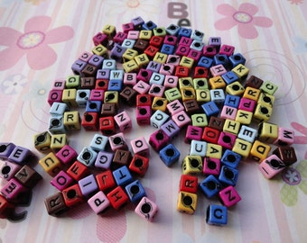 Wholesale 50pcs 6mmx6mm colorful Acrylic character/letter Beads with 3mm Hole