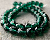 8mm Faceted Round Glass Beads, Czech Glass Beads, Fire Polished Beads, Emerald (20pcs) NEW