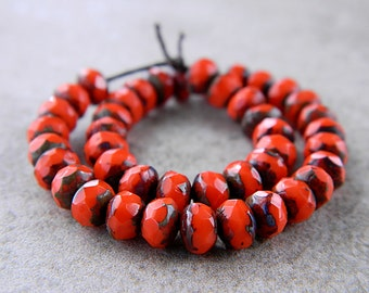 Picasso Red Facetted Rondelle Beads, Czech Glass Fire Polished Donuts,Glass Spacers,  3X5mm, Opaque Red & Classic Picasso (30pcs) NEW