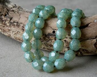 Seafoam Czech glass beads, 6mm round glass beads, fire polished beads, 6mm,  opal Seafoam lustered (40pcs) NEW