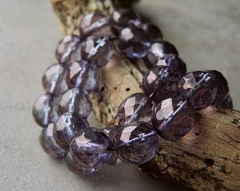 Lumi Amethyst Czech Glass beads, Fire Polished Beads, 10mm round glass beads, Amethyst Lumi Luster (12pcs)