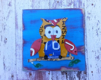 Customized OWL HOOT License Plate Artwork - Bright Blue Aqua Teal Red - Animal Nursery Baby Shower Woodland Recycled Vintage - Upcycled Art