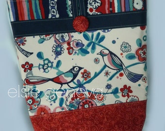"Nautical Red & Blue Bird Stripes and Floral Large Tote Purse Knitting Crochet Supplies Project Bag 17"" Tall"