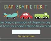 Transportation Diaper Raffle Tickets - Digital File