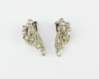 1950s Vintage Long Elegant Rhinestone Earrings